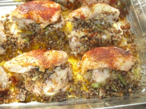 Chicken capon stuffed with kasha